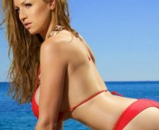 Jordan Carver Water Bikini Red Boobs Sexy Brown Hair Blue Sky Butt