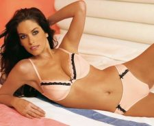 Kim Smith White Bikini Laying