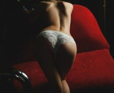 Lace White Panties Girl Ass Low Light Lips Red Sofa