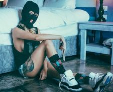 Large Leg Tattoo Tits Swag Girl Shorts Mask Gun Sneakers