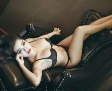 Leather Armchair Black Lingerie Lying Back Brunette Girl