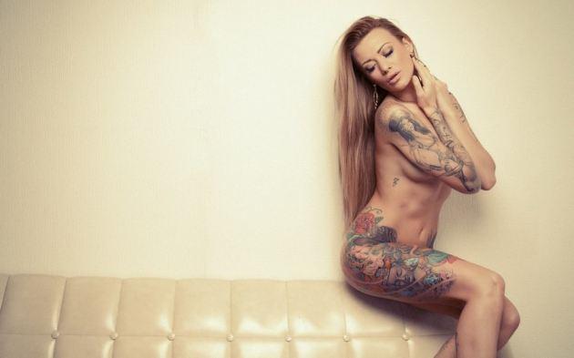 Leather Sofa Model Girl Sexy Nude Large Tattoos
