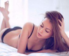 Lingerie Girl Sexy Legs Lying Bed