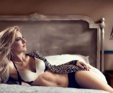 Lovely Blonde Girl Bed Sexy Underwear
