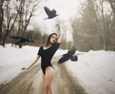 Lovely Girl Winter Sexy Legs Birds Mood