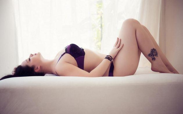 Lying Back Curved Body Girl Brunette Purple Underwear