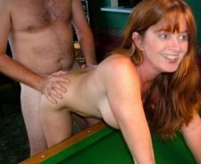 Mature Wife Bent Over Pool Table