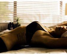 Megan Fox Black Bikini Laying