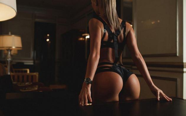 Model Back Perfect Ass Blonde Girl Sexy Underwear