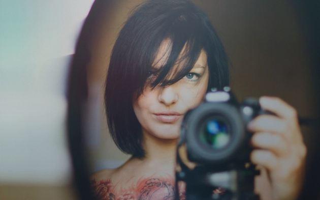 Naked Chest Tattoo Mirror Selfie Dslr Girl