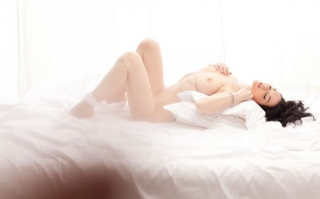 Naked Girl Light Tits Legs Bed Lying Back