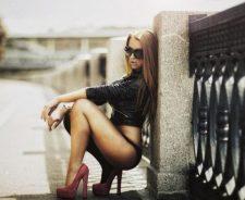 Nice Legs Girl Leather Jacket Pink Platform High Heels