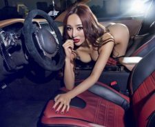 Nissan Car Interior Redhead Girl Sexy Pose