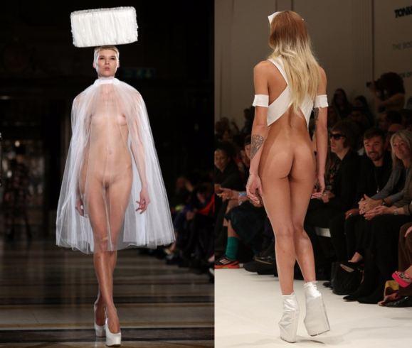 Nude Fashion Models On Catwalk