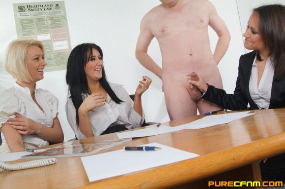 Nude in office