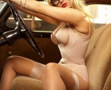 Old Car Sexy Underwear Stockings Blonde Model Girl