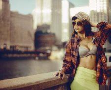Open Shirt River City Bra Skirt Girl Sunglasses