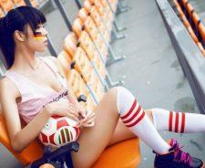 Ornage Stadium Seats Girl Ball Sport Legs