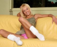 Pink Panty Upskirt On Couch