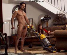 Playgirl Naked Man Vacuuming