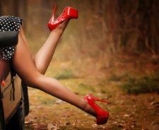 Polka Dots Short Dress Sexy Hot Legs Girl Red High Heels