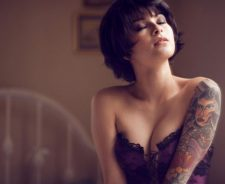 Purple Corset Tattoo Arm Girl Kara Mcgnarley Short Hair Brunette