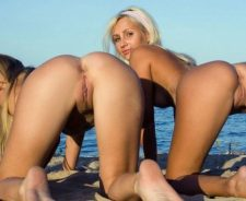 Pussy Beach Sand Sea Two Asses Doggy Buttocks Bottom Buns