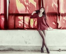 Red Curtains Long Skinny Legs Girl Asian