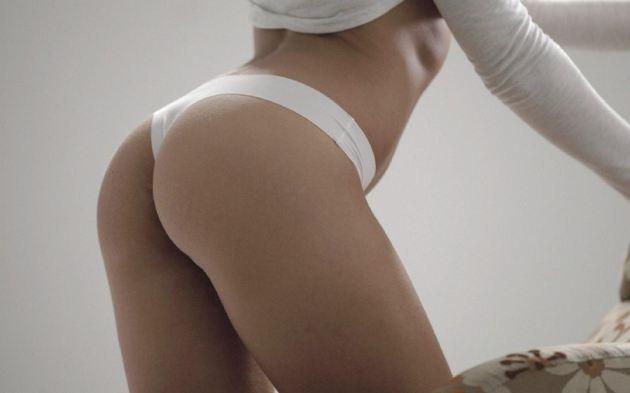 Round Perfect Butt White Panties Girl Legs
