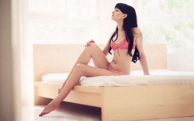 Sexy Body Brunette Girl Underwear Bed