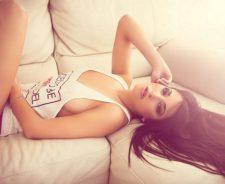 Sexy Girl Body Lying Sofa Legs Model Lingerie