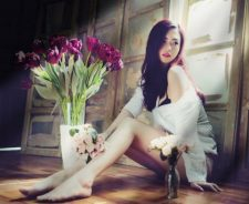 Sexy Legs Asian Girl Flowers Tulips