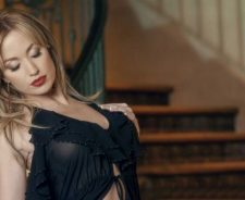 Sexy Lingerie Angela Sommers Model Stairs Background Hand Breast