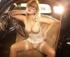 Sexy Lingerie Tits Glasses Old Car Girl Panties