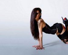 Sexy Model Brunette Girl Underwear Panties Stockings Heels Tattoos