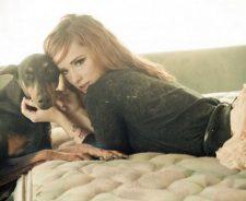 Sexy Woman Hattie Watson Redhead Model Dog