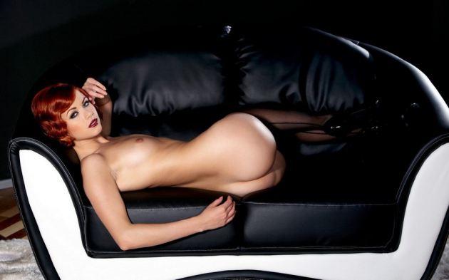Short Hair Redhead Naked Girl Sofa Heels Shoes Stockings