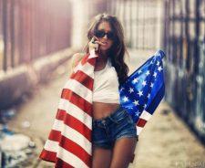 Shorts Girl Brunette American Flag Model Karen Abramyan