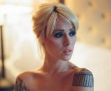 Shoulder Epaulet Tattoo Girl Blonde Beautiful Face