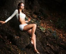 Skinny Sexy Hot Girl Forest Tree Long Legs Sunglasses