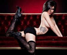 Sofa Sexy Brunette Girl Tattoos Black Underwear Stockings Panties