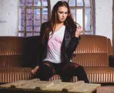 Sofa Stockings Pink Text Shirt Girl Long Hair Legs