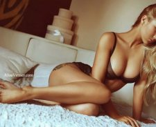 Stunning Beauty Girl Lingerie Blonde Bed Alisa Verner