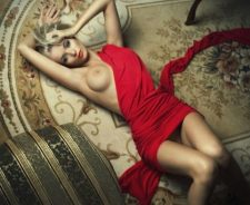 Stunning Body Blonde Red Dress Pussy Tits Lying Carpet Girl