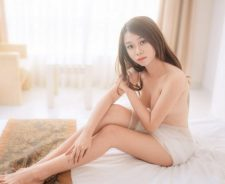 Stunning Skinny Asian Girl Topless Back Tattoo Big Bed