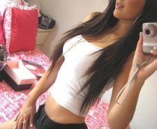 Super hot brunette teen fit hot body selfie