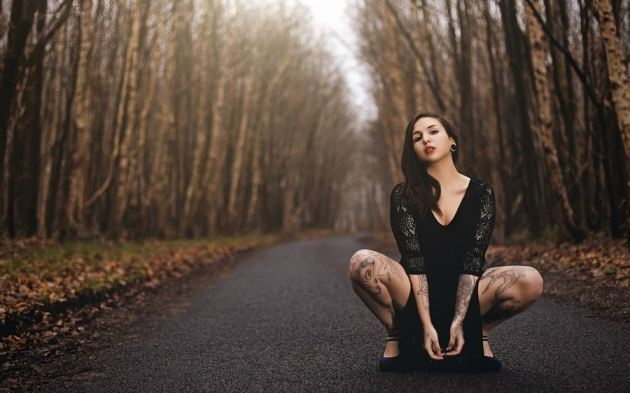Swallows Tattooed On Leg Girl Road Forest Fall