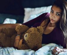 Teddy Bear Blue Eyes Girl Lying In Bed Blue Nails