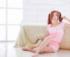 Teddy Bear Pink Dress Redhead Girl Room