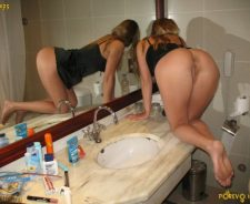 Teen girls pooping together